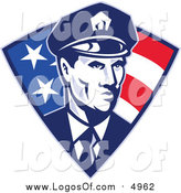 Vector Clipart of a Retro Police Officer in an American Triangle by Patrimonio