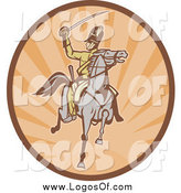 Vector Clipart of a Retro Tan and Orange Horseback Cavalry Soldier Logo by Patrimonio