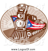 Vector Clipart of a Retro Train with American Banners Travel Logo by Patrimonio