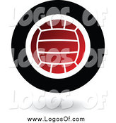 Vector Clipart of a Round Floating Red Black and White Volleyball Logo by Cidepix