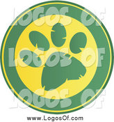 Vector Clipart of a Round Green and Yellow Paw Print Design Logo by Hit Toon
