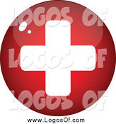 Vector Clipart of a Round Red and White Medical Cross Circle by Andrei Marincas