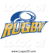Vector Clipart of a Rugby Ball Flying over Text by Patrimonio