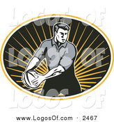 Vector Clipart of a Rugby Player in Motion with the Ball by Patrimonio