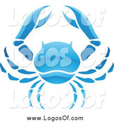 Vector Clipart of a Shiny Blue Cancer Zodiac Crab Logo by Cidepix