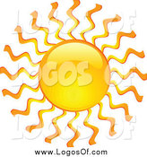 Vector Clipart of a Shiny Hot Summer Sun with Wavy Rays Travel Logo by KJ Pargeter