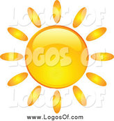 Vector Clipart of a Shiny Orange Summer Sun by KJ Pargeter