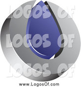 Vector Clipart of a Silver and Blue Drop Logo by Vectorace