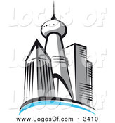 Vector Clipart of a Skyscraper City Skyline Logo by Vector Tradition SM