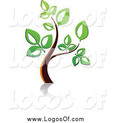Vector Clipart of a Small Tree with Green Leaves Logo by Vector Tradition SM