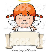 Vector Clipart of a Smiling Red Haired Caucasian Angel Girl over a Banner by Cory Thoman