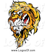 Vector Clipart of a Snarling Male Lion Logo by Chromaco