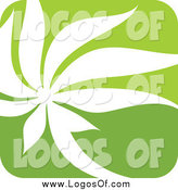 Vector Clipart of a Square Green and White Nature Leaf Logo by Elena