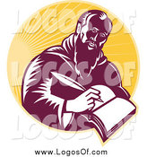 Vector Clipart of a St Jerome Writing in a Book in a Circle of Sunshine Logo by Patrimonio