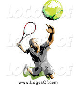 Vector Clipart of a Tennis Player Serving Logo by Chromaco
