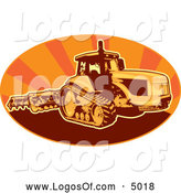 Vector Clipart of a Tiller Tractor in an Oval of Orange Rays by Patrimonio