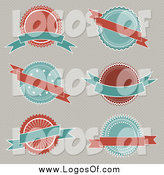 Vector Clipart of a Turquoise and Red Logos and Banners by KJ Pargeter