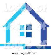 Vector Clipart of a Two Toned Blue House Logo by Vector Tradition SM