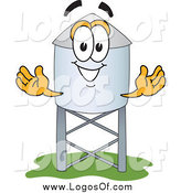 Vector Clipart of a Water Tower Character Welcoming by Toons4Biz