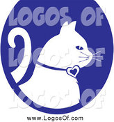 Vector Clipart of a White Profiled Cat on a Blue Oval Veterinary Logo by Pams Clipart