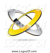 Vector Clipart of a Yellow and Chrome Rings Floating over White Logo by Beboy
