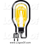 Vector Clipart of a Yellow Light Bulb and Plug Logo by Vector Tradition SM