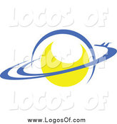 Vector Clipart of a Yellow Planet with Rings Logo by Vector Tradition SM