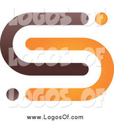 Vector Clipart of an Abstract Brown and Orange S Logo by Qiun