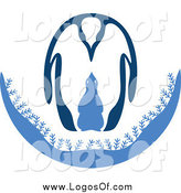 Vector Clipart of an Adult and Baby Penguin Logo by Cherie Reve