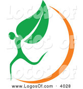Vector Clipart of an Organic Leaf Person and Orange Swoosh Logo by Vector Tradition SM