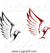 Vector Clipart of Black and Red Flying Eagle Logos by Vector Tradition SM