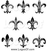 Vector Clipart of Black and White Flur De Lis Logos by Vector Tradition SM