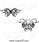Vector Clipart of Black and White Tribal Butterfly Logos by Vector Tradition SM