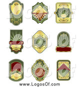 Vector Clipart of Blank Green Gold and Red Label Logos by Vector Tradition SM