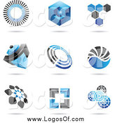 Vector Clipart of Blue and Black Logos by Cidepix