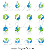 Vector Clipart of Blue and Green Organic and Ecology Logos by Elena