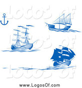 Vector Clipart of Blue Ships and an Anchor Logo by Vector Tradition SM