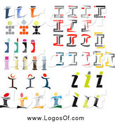 Vector Clipart of Colorful Abstract Letter I Logos by Vector Tradition SM