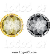 Vector Clipart of Grayscale and Golden Floral Medallions by Andrei Marincas