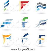 Vector Clipart of Letter F Logos and Shadows by Cidepix