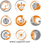 Vector Clipart of Logos of Gray and Orange Abstract Designs by Vector Tradition SM