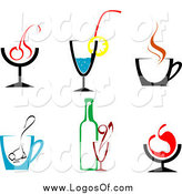 Vector Clipart of Logos of Juices and Alcohol by Vector Tradition SM