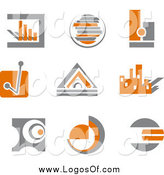 Vector Clipart of Orange and Gray Business Finance Charts and Logos by Vector Tradition SM