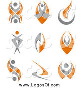 Vector Clipart of Orange and Gray Logos by Vector Tradition SM
