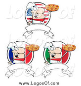 Vector Clipart of Pizza Chef Banners by Hit Toon