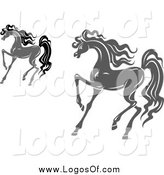 Vector Clipart of Prancing Gray and Black Horse Logos by Vector Tradition SM