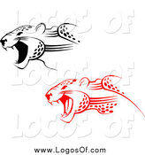 Vector Clipart of Red and Black Attacking Jaguar Logos by Vector Tradition SM