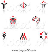 Vector Clipart of Red and Black Logos and Reflections by Vector Tradition SM