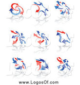 Vector Clipart of Red and Blue Arrow Logos by Vector Tradition SM