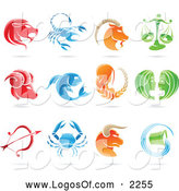 Vector Clipart of Shiny Astrology Zodiac Logos by Cidepix